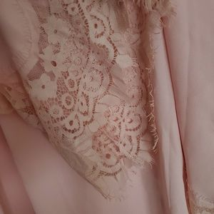 New York & Company Tops - Ny and Co pink lace sleeve blouse
